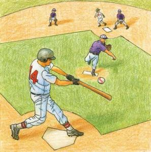 Conrad and Fate playing baseball