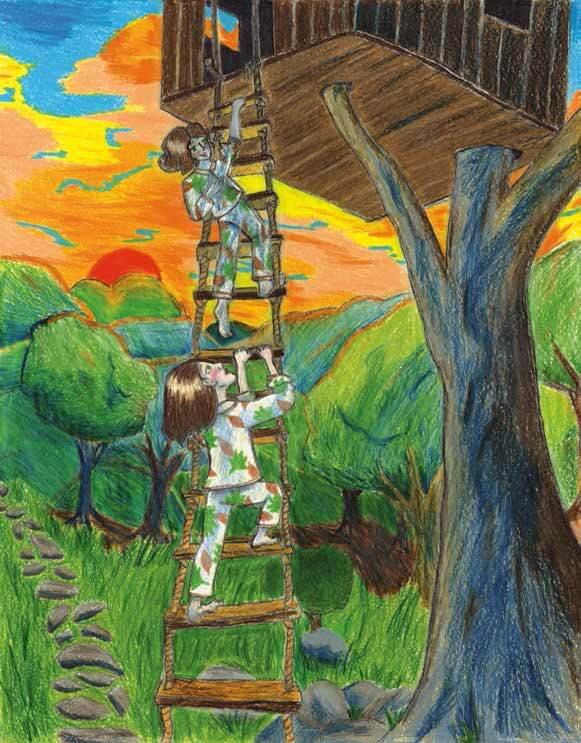 The Treehouse girls climbing
