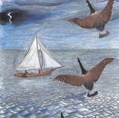 The Migration geese flying