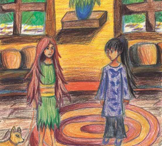 Arcadia, the Adventurous Wolf Girl two girls meeting