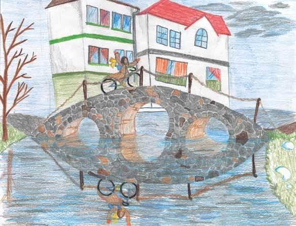You Are My Sunshine biking on the bridge