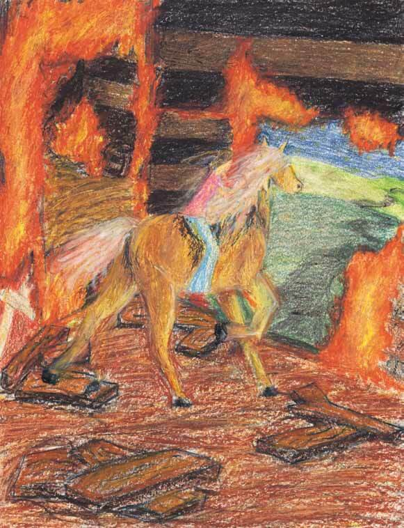 Diablo's Apology riding a horse in the fire