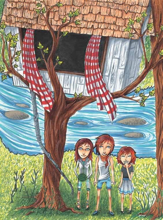 The Three Wishes sisters with treehouse