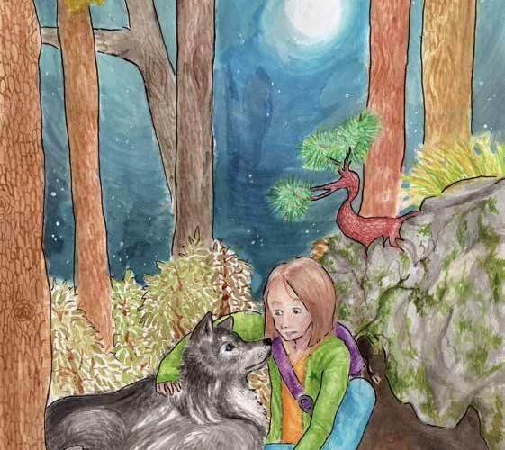 Wolf in the Woods girl and wolf in the woods