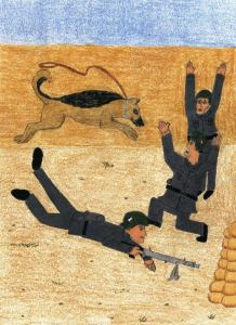 A Dog of War dog attacking enemies