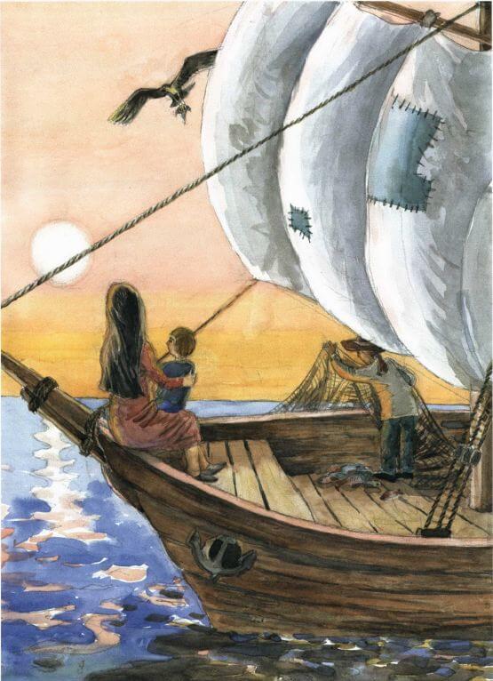 Iristerra riding a boat