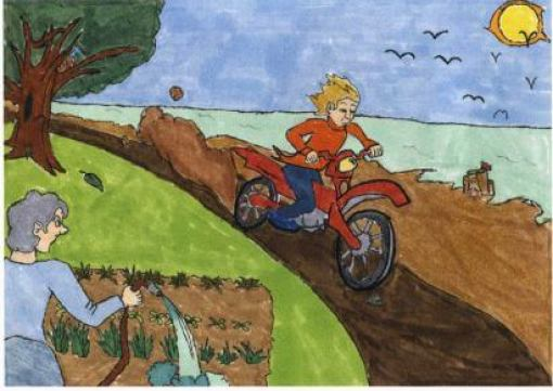 Roaring Regret biking downhill