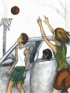 Revenge Is Bittersweet shooting a basketball