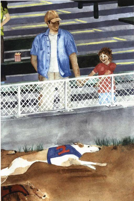 Greyhound Park watching a race dog