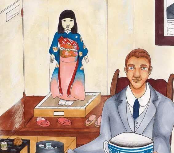 Miss Kagawa's Gift raising a teacup