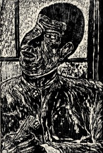 My Friend Who is Thinking, Yasayuki Kahara, age 15. Woodcut.