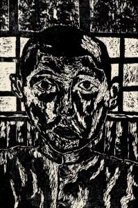 Self-portrait, Masuku Ando, age 15. Woodcut.