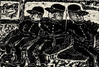 A woodcut print of people on a bus.