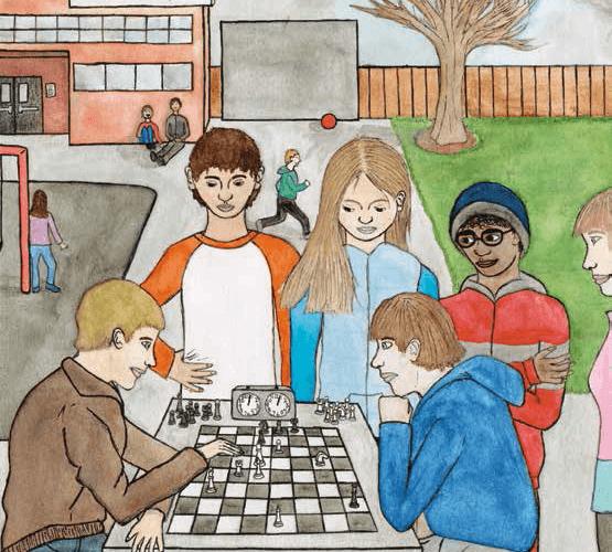 Black and White Children playing chess