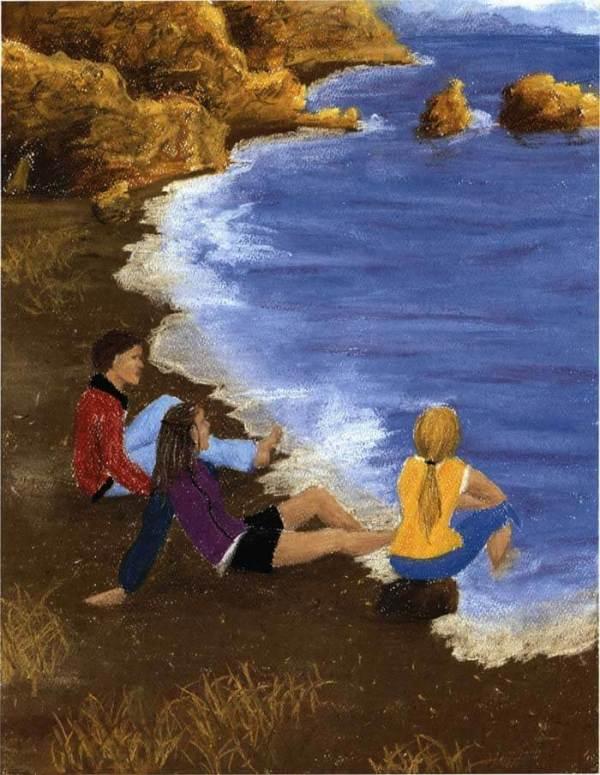 the sea lion waltz three kids dipping on the beach