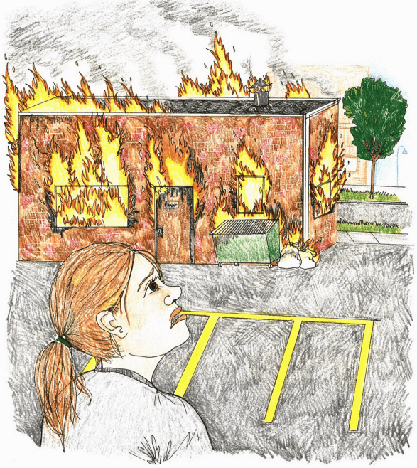 Because of Trust girl looking at burning shop