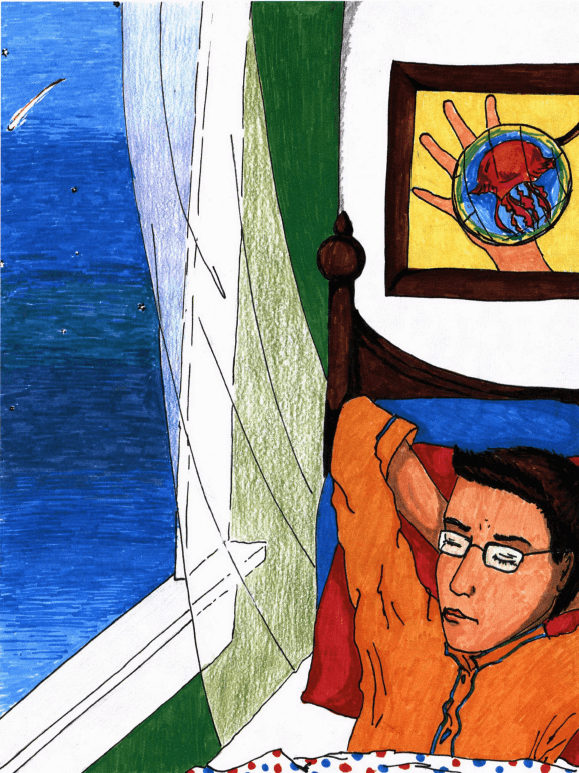 The Shooting Star boy by the window