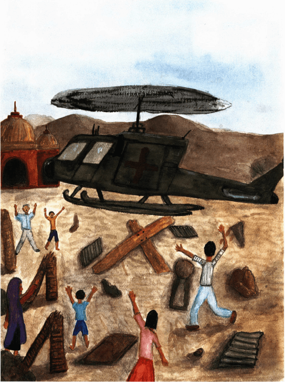 The Shifting Sands helicopter approcahing