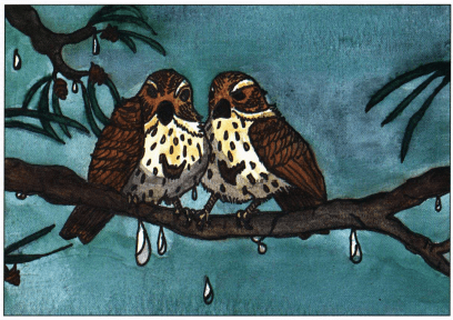 Autumn Thunder sparrows on the branch