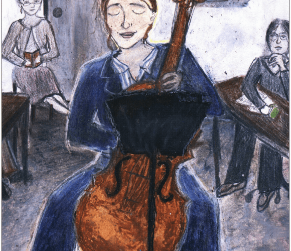 Music Sown with Love woman playing a cello