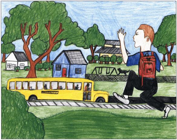 No Mercy boy catching the school bus