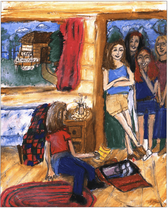 Rhia's Renaissance girls on a cabin