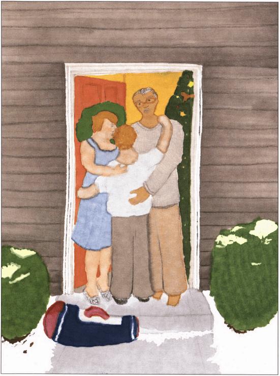 The Vagabond hugging parents