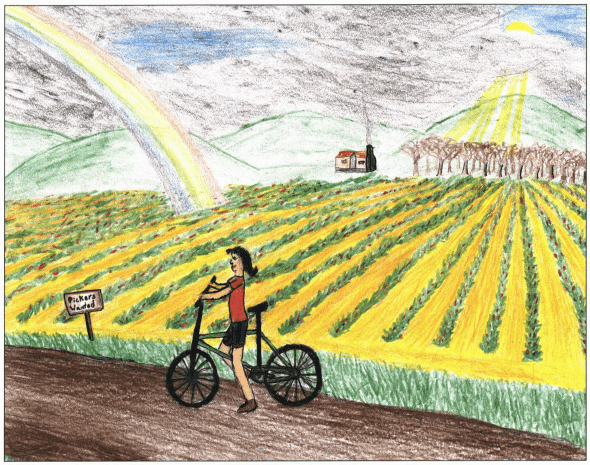 A Summer Job in the Fields biking on the farm
