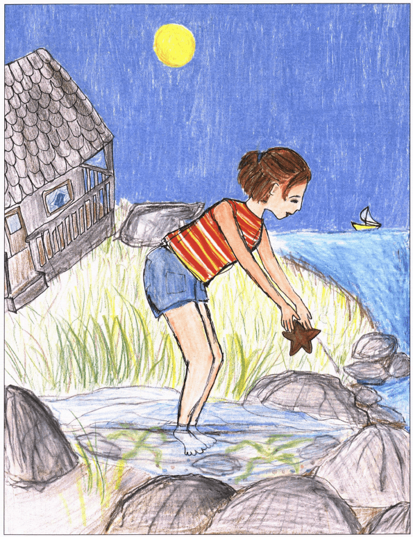 Summer Days Beside Cannon Rock girl picking up starfish
