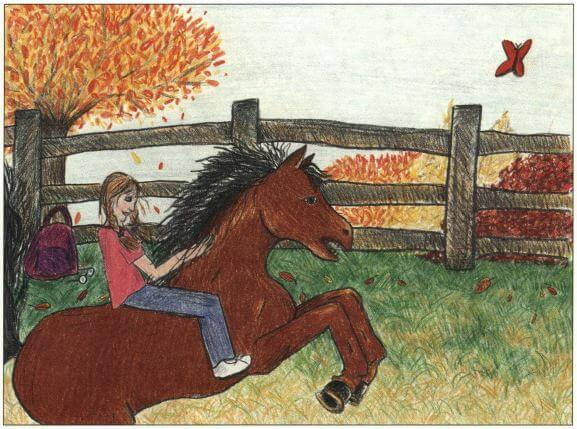 A Crimson Glimmer girl riding a horse