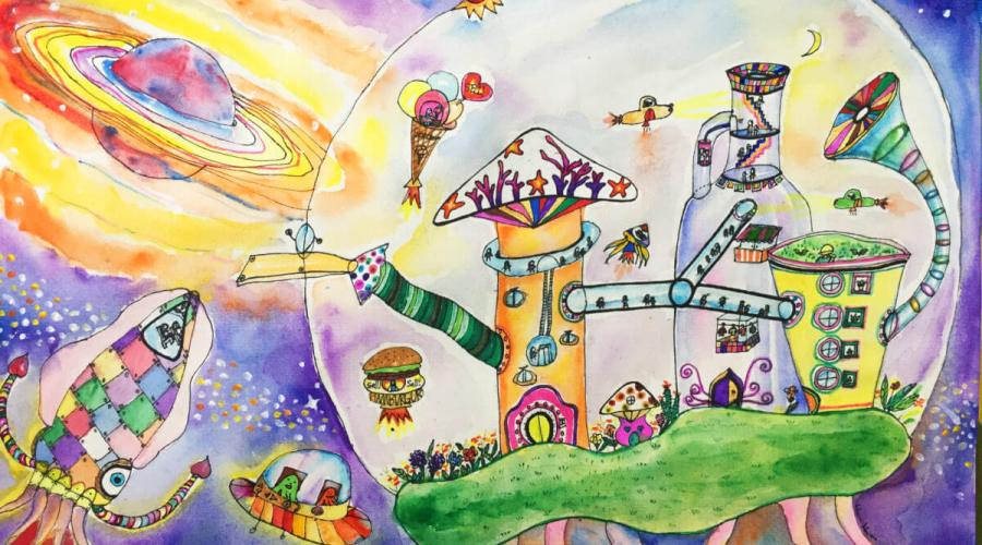 Sky City watercolor