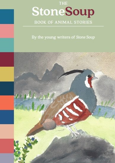"Cover art: ""Mountain Quail"" by Sierra Glassman, 10. Watercolor published in Stone Soup, October 2017."