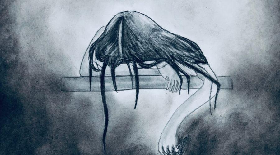 A dark, morbid charcoal drawing of a slumped girl.