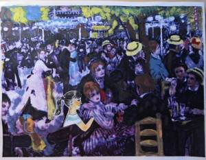 """Modified version of Renoir painting """"Bal du moulin de la Galette"""" with drawn girl pasted in."""