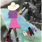 Collage of woman facing a cityscape.