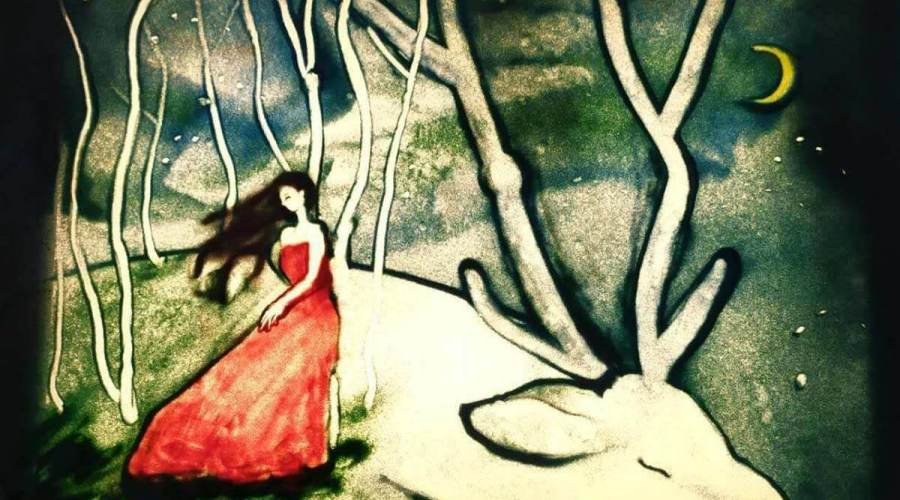 Painting of a woman in red dress leaning on giant resting deer.