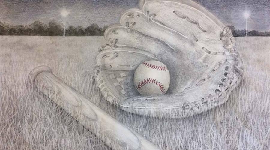 A nostalgic pencil crayon drawing of a baseball bat, ball and glove lying abandoned on a field.