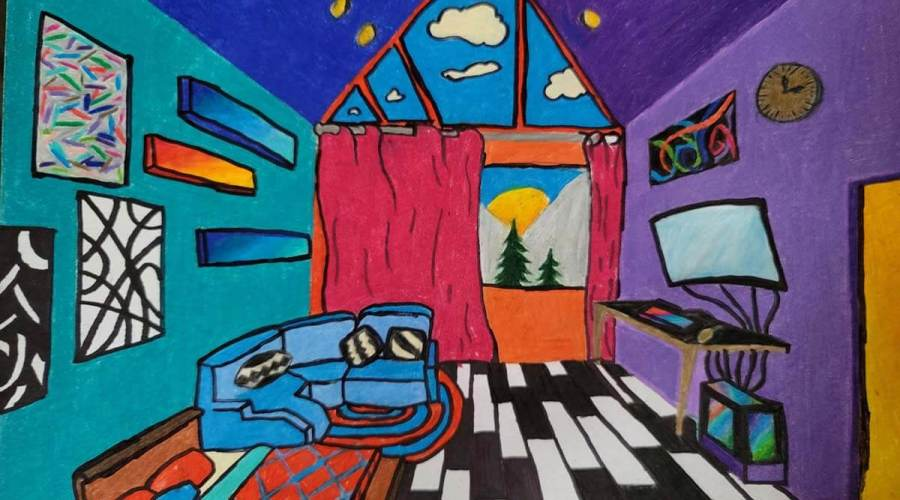 A brightly coloured felt drawing of the artist's dream bedroom.