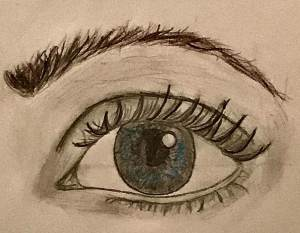 A close-up drawing of an eye.