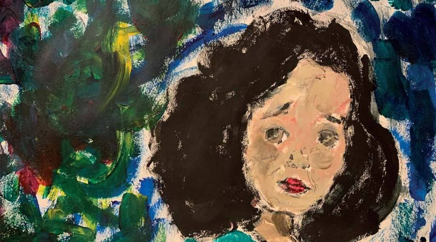 Acrylic painting of a girl with concerned expression