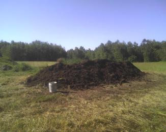 40-feet-long compost pile