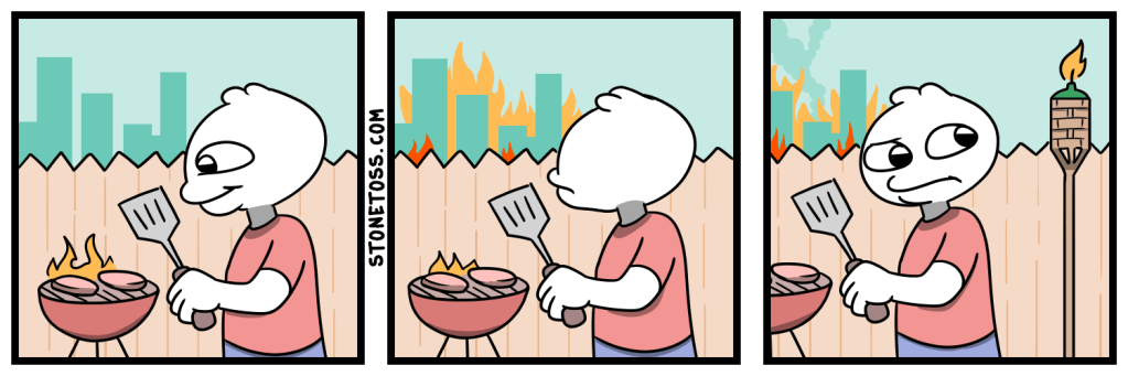 Comic about grilling, politics, and riots.