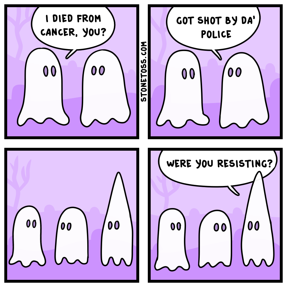 Comic about ghosts and Halloween.