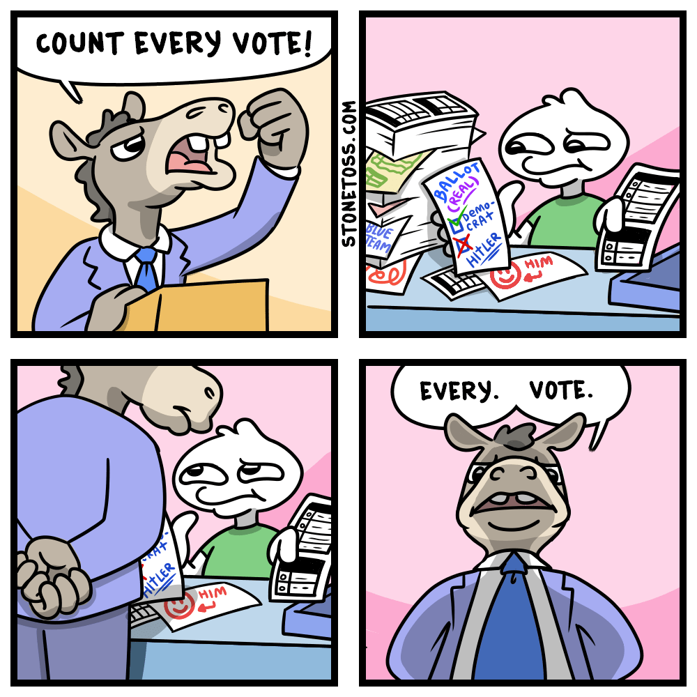 Cartoon about election fraud.