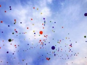 Rainbow Balloons in the sky