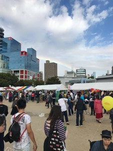 A crowd of people at Kansai Rainbow Pride