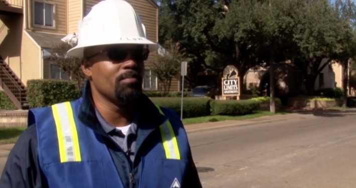 Stonewater Roofing COO and Co-Owner Jacob Law on site at the City Limits Apartments in Dallas.