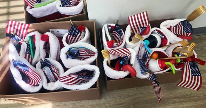Gifts being given to veterans for the holidays.