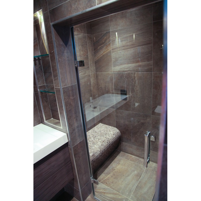 Soft Melt Tiled Small Steam Room with Grey Elements Drawer Vanity  STONEWOOD