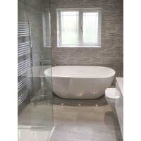 Strata Grey Tiled Bathroom - STONEWOOD